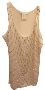 MM Couture Sequined Fancy Sequined White White Silky Top Cream