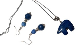 Blue Lapis Lazuli Elephant Stone Necklace Sterling Silver W/ Matching Earrings N075