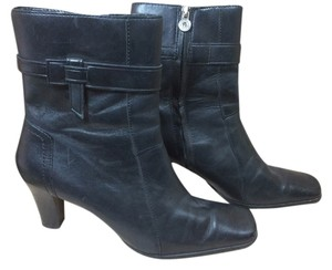 Etienne Aigner Leather Side Zipper Bootie Black Boots