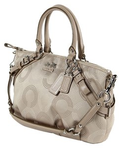 Coach Jacquard Leather Trim Satchel in Beige and Beige