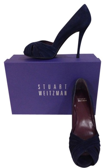 Stuart Weitzman Dressage Suede 4 In Heel Blue Pumps