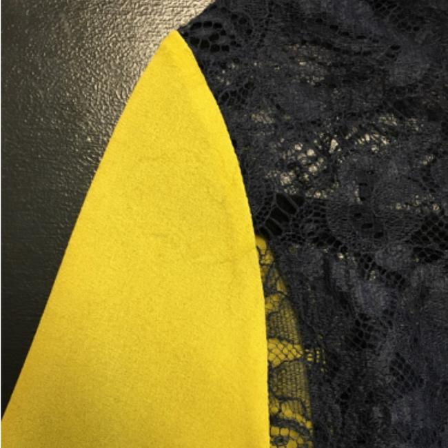 Carven Lace Silk Navy Yellow Top