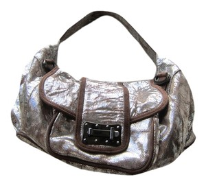 Treesje Metallic Metallic Hardware Satchel in Silver, Beige Leather Piping