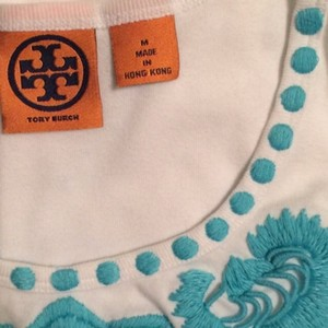 Tory Burch Top White/Turquoise