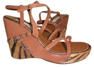 Steve Madden Suede Animal Print Leather Brown Multi Color Wedges