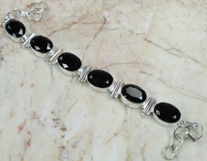 Sterling Silver Plated Black Onyx Bracelet Free Shipping