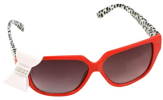other Playful Red 3D Ribbon Bow Smoke Lens Sunglasses Shades Red Animal Print