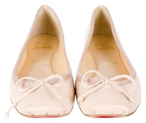 Christian Louboutin Beige Tan Ivory Leather Ballet Ballerina 39 9 New Bow Embellished Textured Square Toe Beige, Ivory Flats