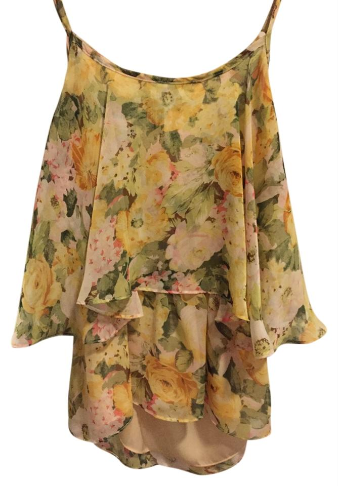 4435cb904d6ccf Lovers + Friends Floral Yellow Sunkissed Ruffled Blouse Tank Top/Cami