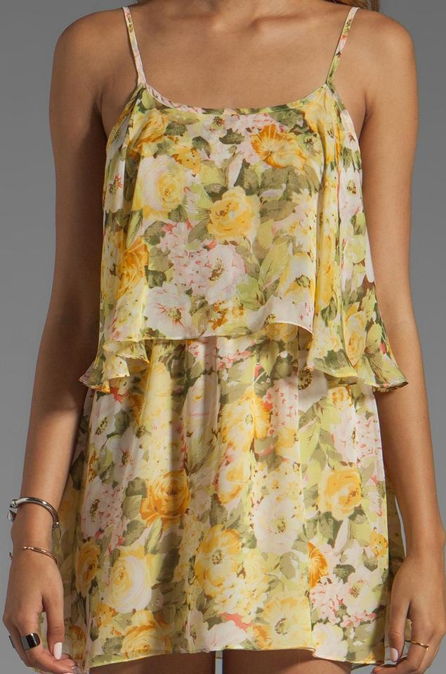 8e4f511e94a0fa Lovers + Friends Floral Yellow Sunkissed Ruffled Blouse Tank Top ...