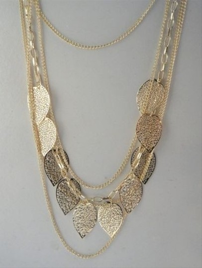 Other Layered Filigree Leaf Necklace