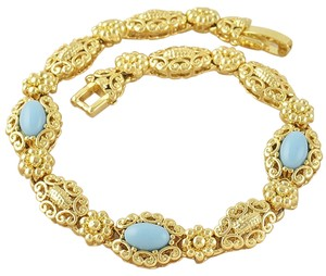 9 Karat Gold and Turquoise Bracelet