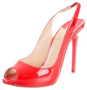 Christian Louboutin Patent Patent Leather Open Toe Stiletto Sling Slingback 39 9 Flo Lady Peep Red Pumps