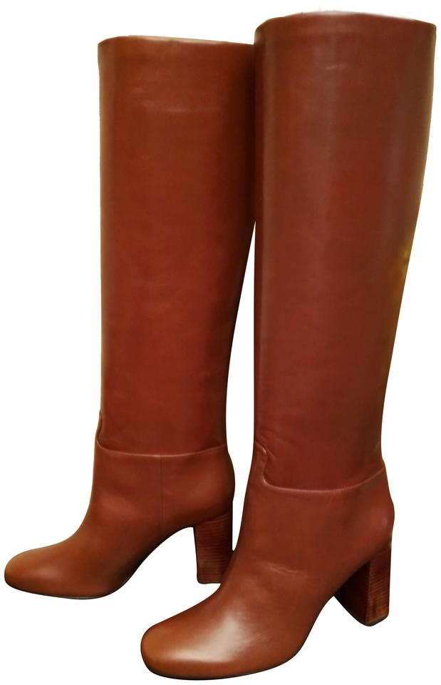 d38a8afe8 Tory Burch Brown Tall Devon Galleon Antiqued Boots Booties Size US 8 ...