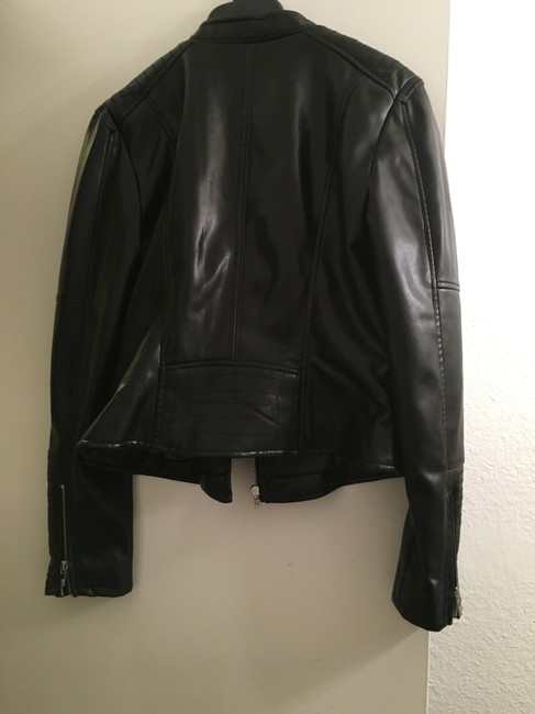 Black Rivet Faux Moto Quilted Asymmetric Leather Jacket