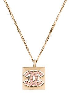 Chanel Pendant CC Logo Crystal Pink Square Gold Classic Black Box Cutout 02P
