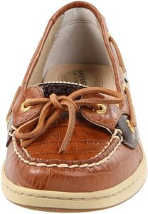 Sperry Boat Uniform Preppy Deck Croc Leather Tan Leather Loafers Angelfish Angel Fish Tan Croc Flats