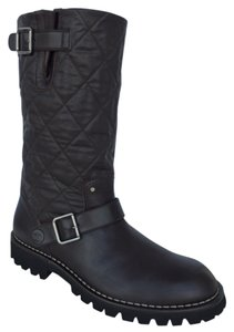 Chanel Leather Boot Casual Chunky Dark Brown Boots