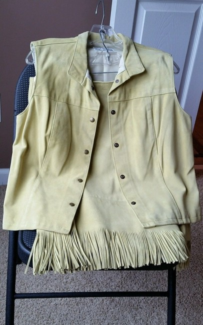 Other Zebra Leathers Size 10 Lt Green Suede Skirt suit w Fringes.