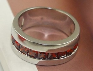 Silver/Red Garnet Wide Band Free Shipping Ring