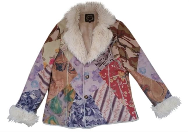 Mesmerize Funky Faux Suede Multi-color Fur Coat