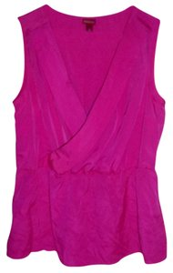 Reserved Hot Cross Over Front Sleeveless Casual Evening Out Top Bright Pink