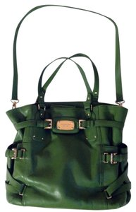 Michael Kors Large Buckles Leather Tote in Green