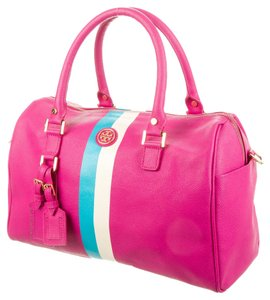Tory Burch Saffiano Leather Robinson Satchel in Pink, White, Blue
