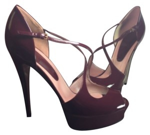 Gucci Women Pumps Vernice Burgundy Women red Platforms