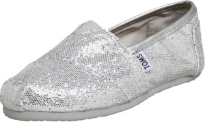 TOMS Sparkle Comfortable Silver Flats
