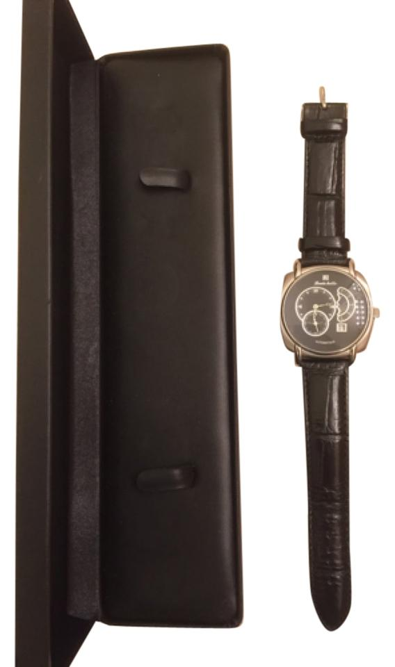 louis bolle men automatic stainless steel and leather watch louis bolle louis bolle men automatic stainless steel and leather watch