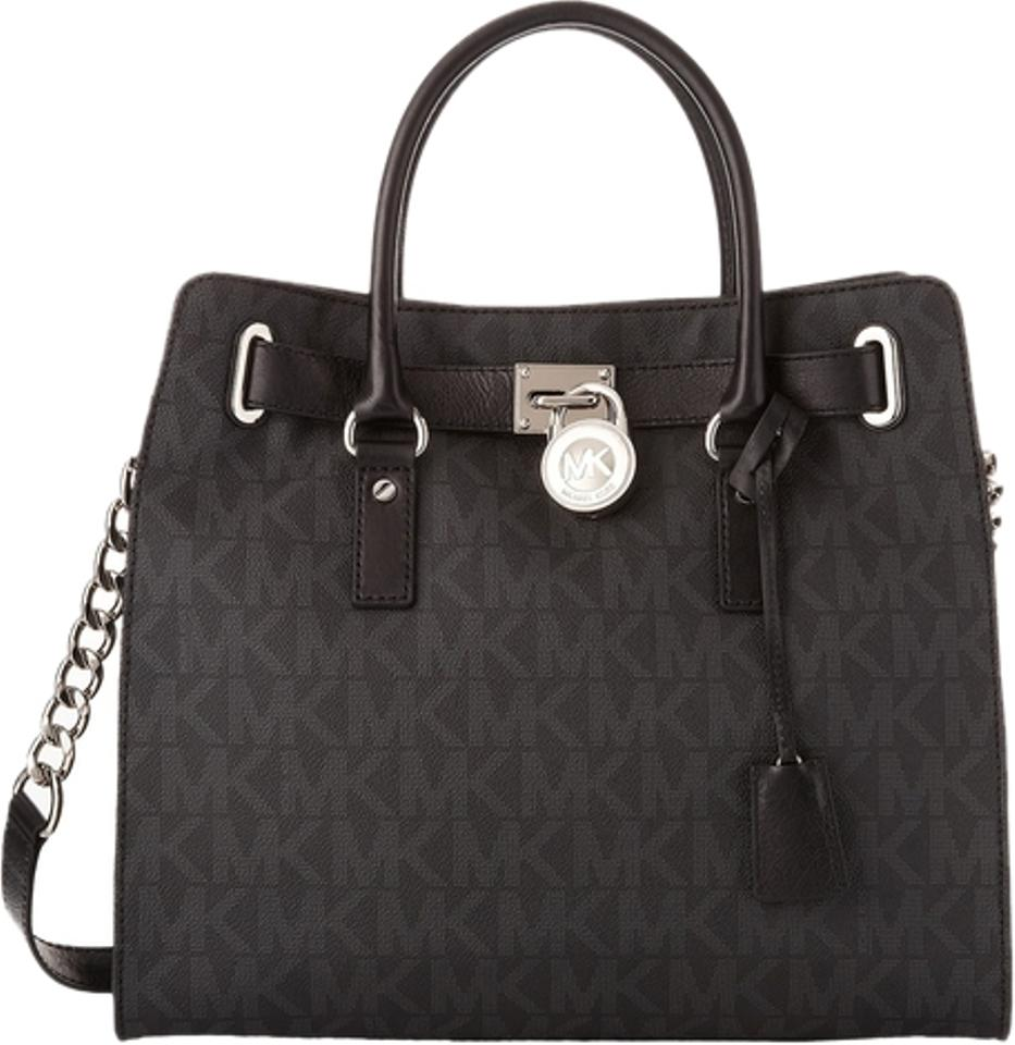 88362f43a4f9ee Michael Kors Large Hamilton Monogram Lock and Key Chain New with Tags  Signature Black / Silver Hardware Pvc/Leather Tote