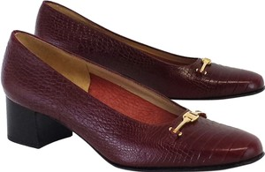 Salvatore Ferragamo Burgundy Croc Leather Heels Pumps