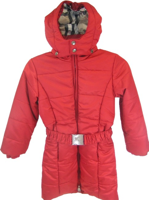 Item - Red Kids Girls Check Quilted Puffer Hooded Winter Belted Long Coat Size 8 (M)
