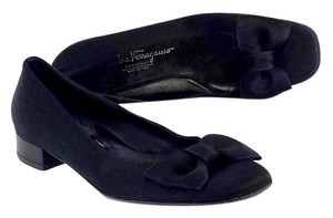 Salvatore Ferragamo Black Satin Bow Flats