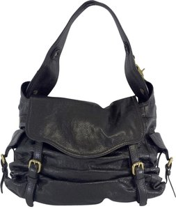 Kooba Brown Shiny Leather Bowler Style Style Hobo Bag