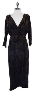 Alice + Olivia Black Gold Print Velvet Midi Wrap Dress