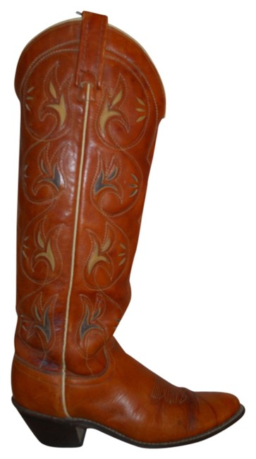 Item - British Tan Vintage Leather Inlay Western Boots/Booties Size US 5 Regular (M, B)