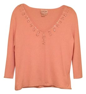 Oscar de la Renta Sequin Knit Top Pink