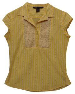 Marc by Marc Jacobs Striped Polka Dot Pin Tuck Button Down Shirt yellow