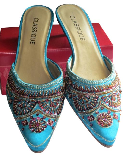 Item - Aqua with Rose/Gold Beading Fabric Kitten-heel Ornate Rose/Gold and Stitching Mules/Slides Size US 7 Wide (C, D)