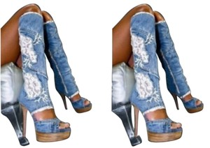 Fashion Womens Lady Denim jean Boots