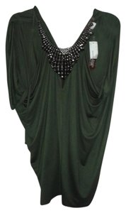 Single Beaded Embellished Draped Flowy Cut-out Top Green