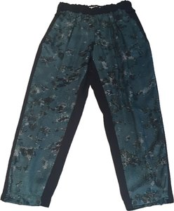 Robert Rodriguez Silk Pant Harem Pant Baggy Pants Blue-green, white & black