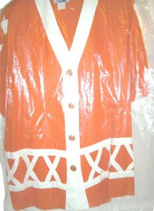 Star World Sz XL Orange/White Dressy Skirt Suit Rayon Short Sleeves by Star World, Embellished With A Fabric Design on the Top.
