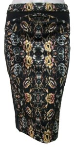 Nicole Miller Skirt Floral Black Multi