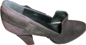 Calvin Klein Jeans Heels Brown/silver Suede And Leather Upper Rubber Sole Size 9 B Heel 4.5