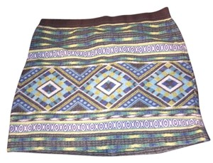 American Eagle Outfitters Mini Skirt Blue Aztec