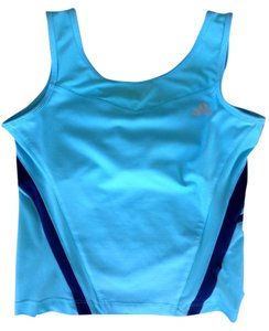 adidas Sport Tennis Workout Top Aqua with navy trim