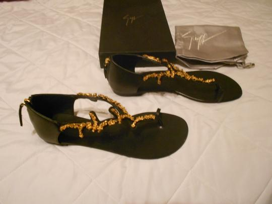 Giuseppe Zanotti Vine Design Made In Italy Black Sandals